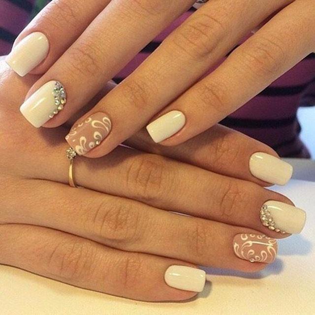 Свадебный маникюр гель лаком на свои ногти фото